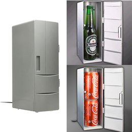 Wholesale can refrigerator - Portable Mini USB PC Car Laptop Fridge Cooler Mini USB PC Refrigerator Warmer Cooler Beverage Drink Cans Freezer