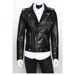 Wholesale Fashion Leather Garments - Mens Motorcycle PU Leather Garment Casual flocking Men's Clothing Jacket Men Multi zipper slim PU leather design lapel tops