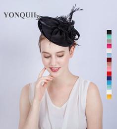 Wholesale Lady Fascinators - New Arrival black imitation Sinamay Fascinators Elegant Ladies feather Floral Hat headbands Wedding Party Derby Hair Accessories