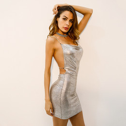 sexy working out clothes Promo Codes - Women Gliding Bodycon Dresses Party Sexy Backless Formal Dress Sheath Hip Up Clothing