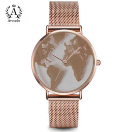 Wholesale world map wrist watch - AVOCADO Hot Sale World Fashion Quartz Watch Men Unisex Map Airplane Travel Around The World Women Leather Dress Wrist Watches