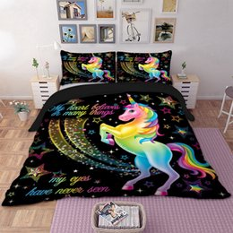 rainbow beds Coupons - Dropshipping Duvet Cover Rainbow Unicorn Fairytale with Sparkling Stars 3D Digital Printing Bedding Sets Black Background