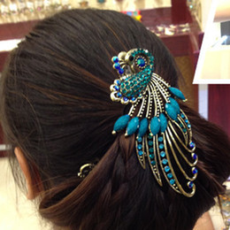 ferramentas phoenix Desconto Novas Mulheres de Cristal Strass Cabelo Pino de Pavão Pin Acessórios Para o Cabelo Grampo de Cabelo Do Vintage Phoenix Duckbill Claw Claw
