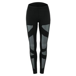 Hoseneinsätze online-Sexy Fitness Leggings Cut-out Verband Spitze Mesh Insert Cross Pants