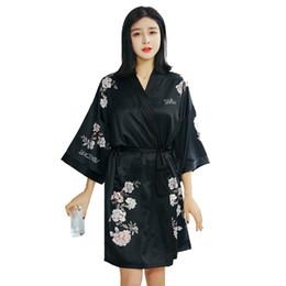 82c3f6d06af3 Abito da sposa damigella damigella d onore Sexy nero Kimono femminile  Accappatoio Abito estivo Camicia da notte in raso Stampa floreale Camicia  da notte ...