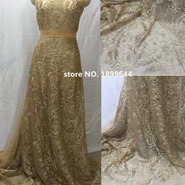 Argentina Nuevo diseños de bordado tela de encaje francés nigeriano de alta calidad piedra de oro africano colorTulle encaje de poliéster para la boda 5Y / Lote Suministro