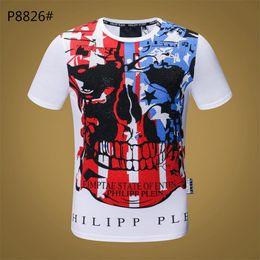 Moda Designer de Marca de Luxo Tshirt PP EUA Grânulos Da Bandeira Do Crânio  Camisetas Designer de Alta qualidade T do Crânio para Homens América  bandeira 3d4804ac9ff