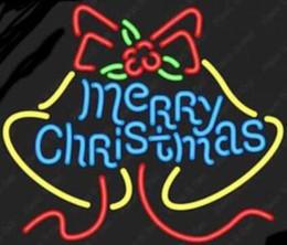 Sinais de natal iluminados ao ar livre on-line-24 * 20 polegadas de néon feliz natal sinal neon luz interior / decoração exterior tensão rgb 110v-240v