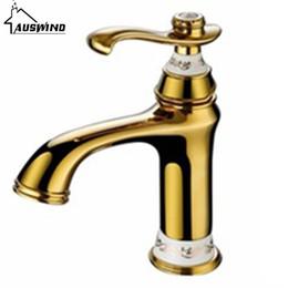 Wholesale gold basin faucet - European Antique Basin Hot and Cold Tap Gold Single Hole Copper Baking Bathroom Counter Basin Faucet IU-41