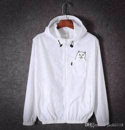 Wholesale Black Windbreakers - designer ripndip jackets for men women windbreakers hip hop outdoor sport bomber jacket streetwear thin windbreaker