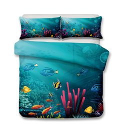 Wholesale Oil Painting Queen - Underwater World Pattern 3d Oil Painting Printed Bedclothes Sets All Sizes 4pcs set Duvet Cover