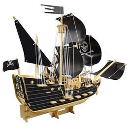 Судовые корабли онлайн-Пиратский корабль деревянные модели, 3D деревянные парусные корабли модели головоломки-головоломки тизер мозга деревянное здание детские деревянные ремесленные наборы, развивающие игрушки
