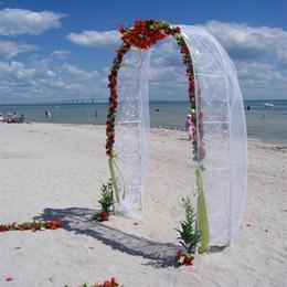 Decoraciones de fiesta de uva online-Blanco Wedding Metal Arch Garden Hierro Soporte de la flor Grape Vine climbing Frame Loofah Rack 240 * 38 * 140 cm para la decoración del partido