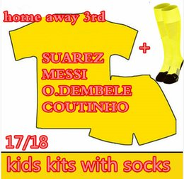 Wholesale sports jersey kits - 2017 18 19 COUTINHO kids with sock MESSI O.DEMBELE INIESTA PIQUE SUAREZ Children jersey 17 18 home away sky blue futbol Sports shirts KITS