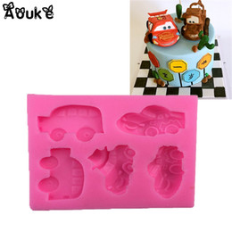 cake molds biscuit Coupons - 3D Car Shape Cake Silicone Mold Embossed Fondant Molds Chocolate Candy Biscuits Moulds DIY Wedding Decoration Baking Tools X073