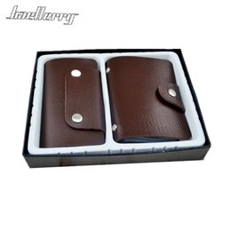 Wholesale Packaging Pop - baellerry 2PCs PU Leather Wallets Charm Credit Card Holder Fashion New Key Case 24 Card Car Pop Key Holder Package Excluded
