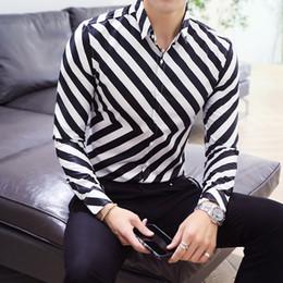 Camicia uomo marca 2018 Camicie maniche lunghe maschili di alta qualità  Motivo a strisce casual Business Slim Fit Camicie vestito uomo nero 3XL camicia  di ... bfcfb258c4d