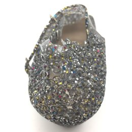 Wholesale Silver Crystal Wedge Shoes - YAUAMDB women sandals female garden shoes spring summer PVC Crystal High-heeled Jelly Shoes mujer hollow Wedge beach Y20