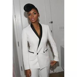 Wholesale Slim Fit Work Suit - Fashion White 2 Pieces Women Pants Suits Prom Dresses Shawl Lapel Slim Fit Work Clothes Women's Trouser Suits