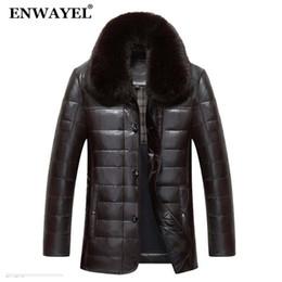 ENWAYEL Winter Luxus Daunenjacke Männer Lederjacke Männlich Daunenmantel  Jacken Top Qualität Winddicht Warm Fox Pelzkragen EW121 günstige leder  fuchs kragen 9cff5f34b0