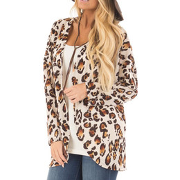 974f8a57a636 Sweater women Leopard Print Long Sleeve Blouse Jacket Casual T-Shirt Tops Coat  Outerwear winter clothes cardigan ladies