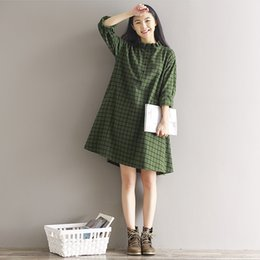 Wholesale Plaid Shirt Women Long - Autumn Spring Dresses for women Loose shirt drese Plue size Cotton linen Green colors size M-XL