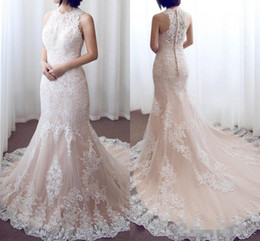Wholesale beach wedding dresses online - 2018 Pink Lace Mermaid Wedding Dresses Sleeveless Jewel Neck Lace Appliques Long Bridal Gowns Custom Made Online