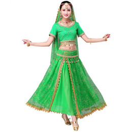 belly dance skirt belt Promo Codes - 2018 Sari Dancewear Women Belly Dance Clothing Set Indian Dance Costumes Bollywood Dress(Top+belt+skirt+veil+headpiece)