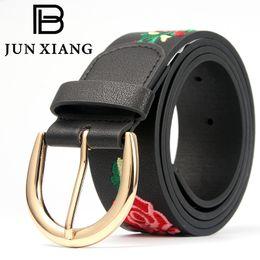 Мода женщин пояса металлические пряжки PU кожаный китайский стиль вышивка цветочный узор 5 отверстие подходит для брюки джинсы девушка подарок от