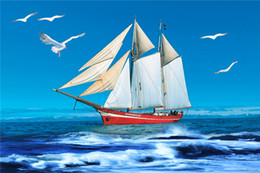 cenários de fotografia do mar Desconto Céu azul e Sea Sailor temáticos cenários de fotografia impressa gaivota branco Sailboat crianças crianças festa de aniversário Photo Booth Backgrounds