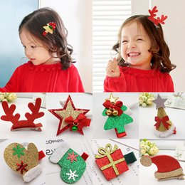 Wholesale Pink Decorated Christmas Tree - New 1PC Children Cute Christmas Decorate Hairpins Multi-Type Glove Tree Girls Popular Hair Clip Hot Sale