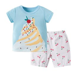 Wholesale Ice Cream T Shirts - Girls ice cream printed T-shirts 2018 boutique children cotton short sleeve tops+cherry polka dots printed casual shorts 2pcs sets Y5026