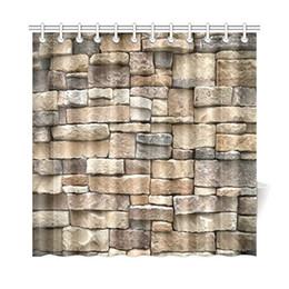 2019 geometrisches designgewebe Aplysia Rock Wand Duschvorhang Farbige Steinoberfläche Retro Dorf Stil Haus Design Dekorative Stoff Duschvorhänge günstig geometrisches designgewebe