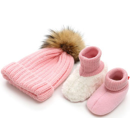 Vêtements de bébé garçon au crochet en Ligne-Newborn Photography Props Baby Boys Girls Knitted Hat & Baby Shoes Soft Sole Crochet Knitted Clothing Accessories Costume Outfit