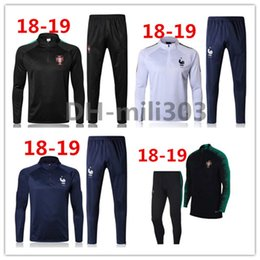 Wholesale Tracksuits Men Soccer - 2018 Portugal trainingsuit kits longsleeve France jacket tracksuit Soccer Jersey France GRIEZMANN POGBA MARTIAL Giroud jersey Football shirt
