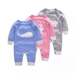 Wholesale knitting baby patterns - Baby cute knitted onesie 3colors toddlders animal knitting pattern long sleeve romper cute baby outfts for boys girls autumn winter A08