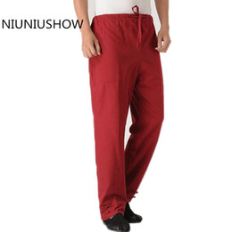 Wholesale Kung Fu Pants Black - Burgundy Chinese Style Kung-Fu Trousers Men's Solid Cotton wu shu Elastic Waist Pants Plus Size M to 4XL YW251