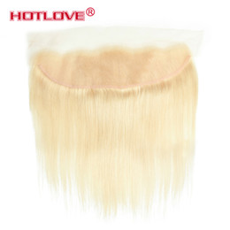 Wholesale Natural India Hair - 613 Blonde Free Lace Frontal Closure with Baby Hair Brazilian Malaysian Peruvian India Straight Pre Plucked Frontal with Natural Hairline