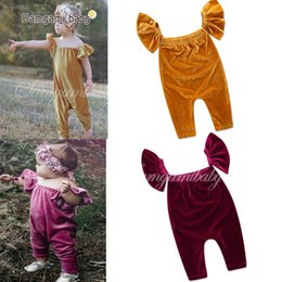 Wholesale Wholesale Baby Puffs - Baby Girls Pleuche Rompers Burgundy puff Sleeveless Newborn Infant Jumpsuits Summer Triangle Outfit One-piece Climb Clothes 3-24M A8665