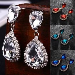 12 colori argento strass goccia orecchino di cristallo d'oro goccia 1 paio unico ciondola orecchino gioielli femminili regali per le donne da perline di plastica 7mm fornitori