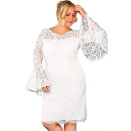 vestidos de manga larga para mujeres gordas Rebajas 2018 otoño gran tamaño de las mujeres gordas vestido de moda de encaje recorte de cuello redondo altavoz de manga larga lateral con cremallera XL vestido de fiesta de talla grande