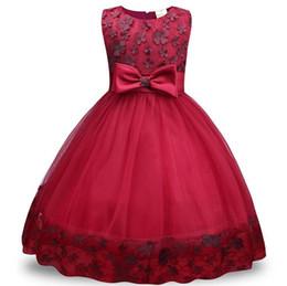 abbigliamento per le ragazze all'ingrosso Sconti Flower Girl Dresses for Wedding Blush Pink Princess Tutu Paillettes Appliqued Lace David nodo fiore principessa gonna Gonna gonna Bow tie dress