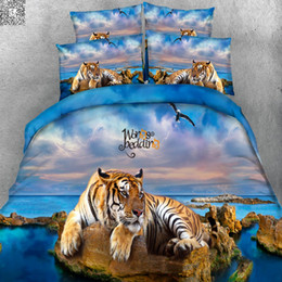 Wholesale tiger print sheets - 3D Bedding Set Tiger HD Digital Reactive Print Bedding Sets High Quality Queen Size With Pillowcase Duvet Cover Bed Sheet 3PCS