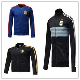 Wholesale Train Suits - AAA quality 2018 world cup Spain Soccer jacket TRAINING SUIT 2018 Belgium Argentina soccer jacket kit Italy TRACKSUIT SPORTSWEAR