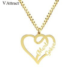 personalized name chains Coupons - Handmade Jewelry Fashion Couple Names Necklace Personalized Silver Gold Box Chain Heart Statement Necklaces Women Custom Bijoux