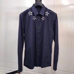 Wholesale high collar dress shirt men - 2018 hot New Arrival Fashion Men Shirt pentagram Brand Casual Long-Sleeved Chemise Homme High Quality Slim Plaid Dress shirt XXL
