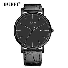 Lente di orologio online-Gli uomini di BUREI guardano la vigilanza superiore di marca di cuoio maschio reale di modo grande quadrante dell'orologio impermeabile della zaffiro di affari dell'orologio dell'orologio Vendita calda