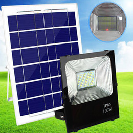 Wholesale garden floods - Solar Floodlight lawn lights wall lamp 100W Outdoor Flood Lights IP65 Flood Spotlight Solar Powered LED Flood Light Outdoor