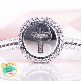 Wholesale 925 Ale Silver Charms - Faith Cross Charm Authentic 925 Sterling Silver charms 925 ale Beads Fits Pandora Bracelets DIY Fine Jewelry