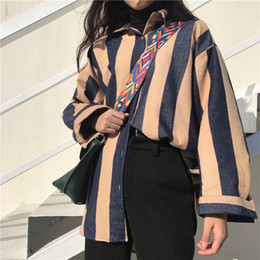 Wholesale Women Striped Button Down Shirt - Striped Hit Color Turn-down Collar Cotton Blouse Shirt Women Single Breasted Cool Tops Tees Long Sleeve Streetwear chemise femme